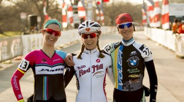 The Singlespeed Women Podium at 2015 Nationals: Bruno Roy, Cutler and Sherrill. © Cyclocross Magazine