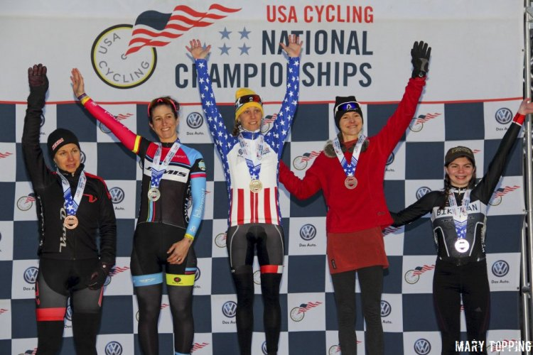 2015 Cyclocross National Championship Singlespeed Podium. L to R: Blatt (4th), Cutler (2nd), Bruno Roy (1st), Sherrill (3rd), Seib (5th) © Mary Topping
