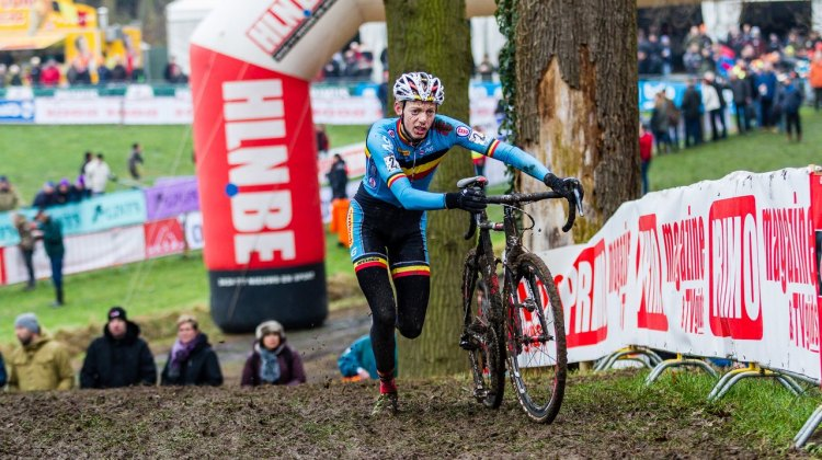 Vanthourenhout secured an overall World Cup win with his second place today. © Thomas van Bracht / Cyclocross Magazine