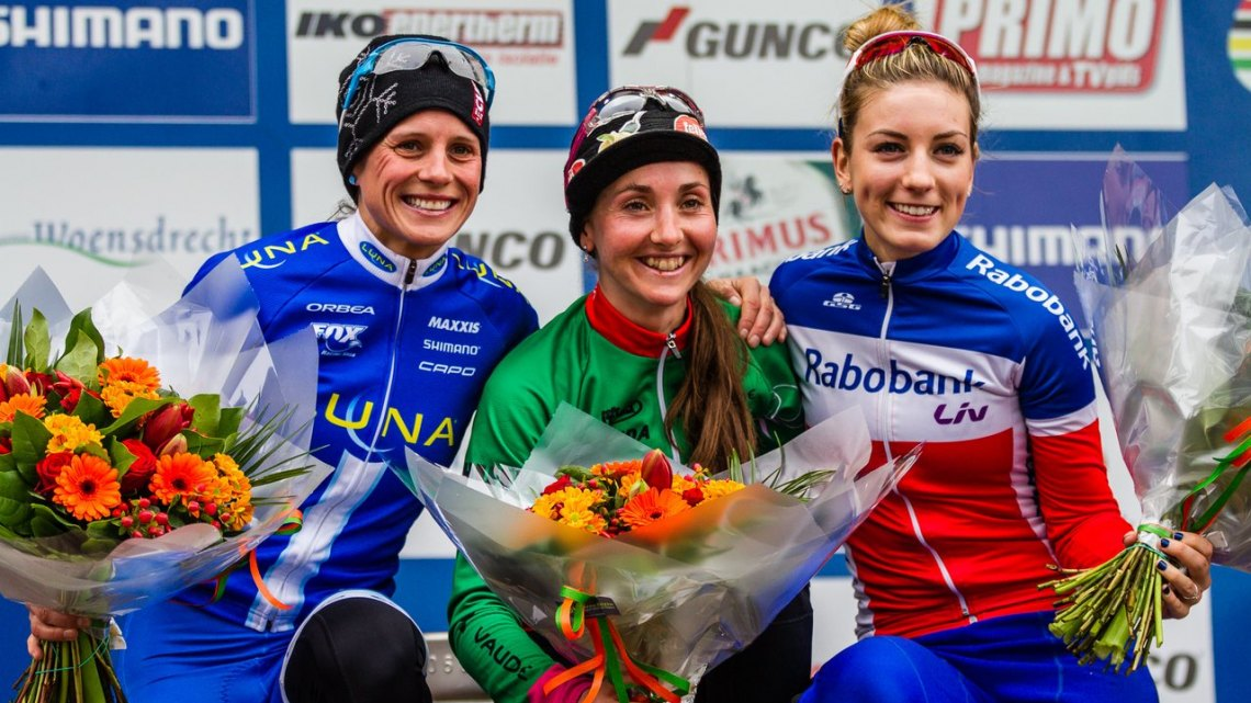 Lechner, Nash and Ferrand-Prevot made up the podium at Hoogerheide. © Thomas van Bracht / Cyclocross Magazine
