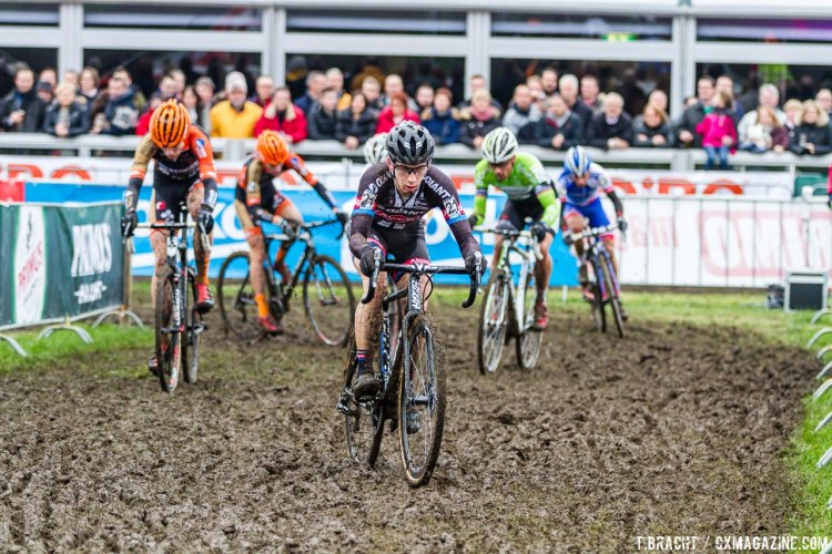 Van der Haar, shown here in third, lead the chase group, although it would be Van Aert who captured second on the day. © Thomas van Bracht / Cyclocross Magazine