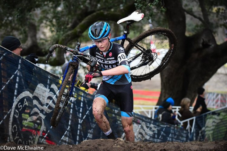 Lance Haidet leading the junior men's 17-18 field at 2015 USA Cycling Cyclo-cross National Championships. © Dave McElwaine