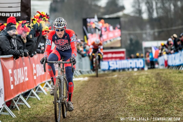 Gage Hecht had a ride for the ages, and came one chain and tire slip from a medal. Thankfully, he can get revenge next year. © Mathew Lasala / Cyclocross Magazine