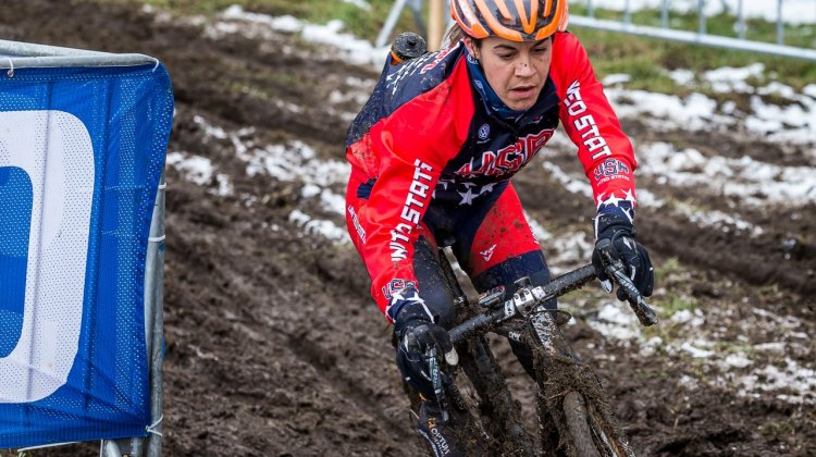 Crystal Anthony slides through this turn, trying to keep all her momentum in the thick mud. © Matt Lasala / Cyclocross Magazine