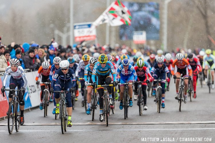 Helen Wyman off to secure the holeshot at the start of the Elite Women's Race at the 2015 World Championships, Tabor. © Matthew Lasala / Cyclocross Magazine