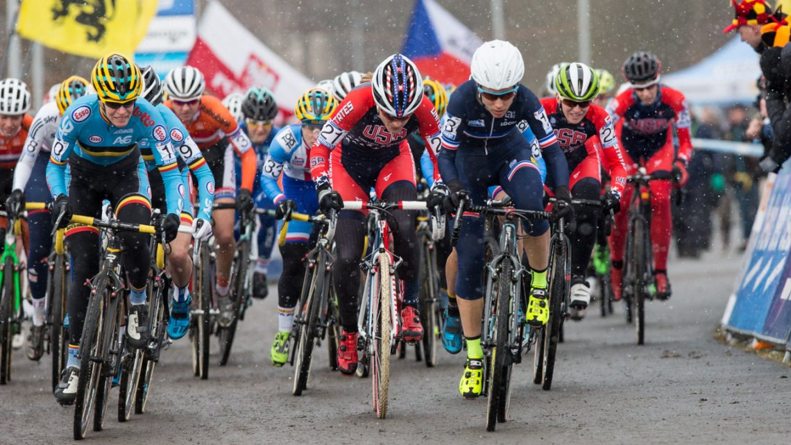 Luci Chainel-Lefevre stormed off the line and would pass Wyman for the lead on lap one. Elite Women - 2015 Cyclocross World Championships © Mike Albright / Cyclocross Magazine