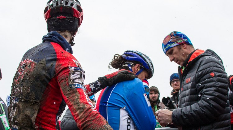 Rachel Lloyd attempts to console fellow Californian Katerina Nash after yet another heartbraking Worlds - Elite Women - 2015 Cyclocross World Championships © Mike Albright / Cyclocross Magazine