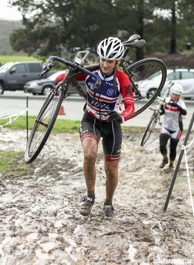 Caro Gomez Villafañe just a few seasons ago, learning cyclocross and running through the mud at a local CCCX race. © Cyclocross Magazine
