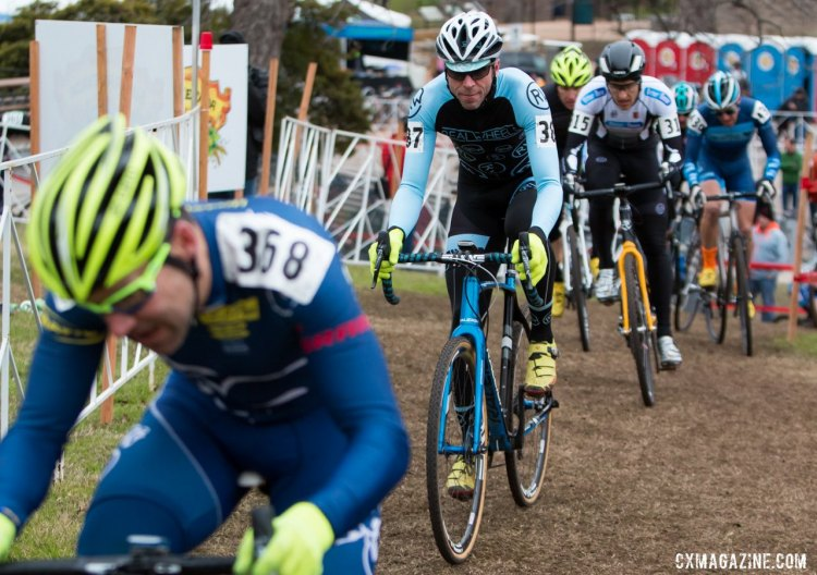 Chris McGovern, coach and owner of Real Wheels, racing in the Masters 40-44 race, moving up to finish 17th. 2015 Cyclocross National Championships. © Cyclocross Magazine
