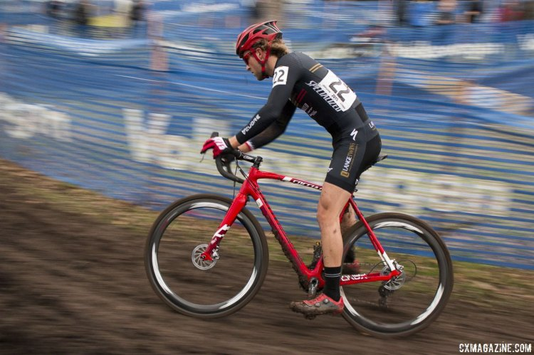 Cody Kaiser had a first lap crash but kept pushing to to finish 26th. © Cyclocross Magazine