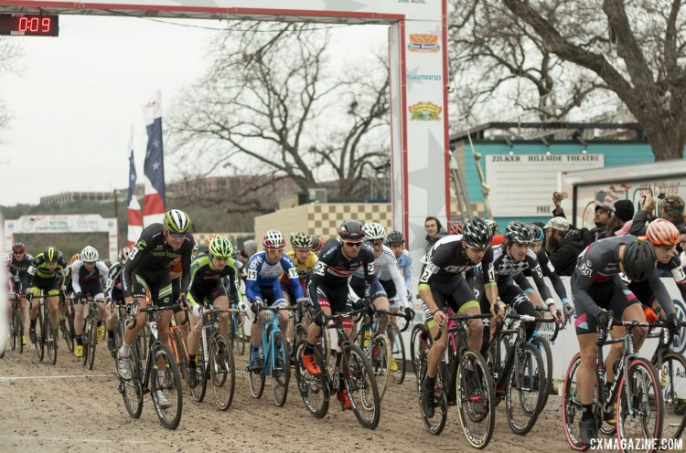 The start of the Elite Men's race at the 2015 Cyclocross National Championships. © Cyclocross Magazine