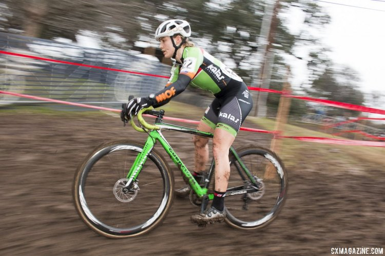 Elle Anderson Changed Her Mind and Her Flight to Contest the 2015 Cyclocross National Championships but couldn't match her silver from 2014. © Cyclocross Magazine
