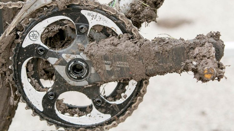 Hecht uses an old Compton favorite: WickWerks double chainrings, which he has installed on his SRAM Red 22 crankset. © Cyclocross Magazine