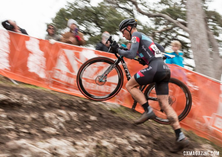 Jeremy Powers (Aspire) scales the first set of limestone stairs in the lead. © Cyclocross Magazine