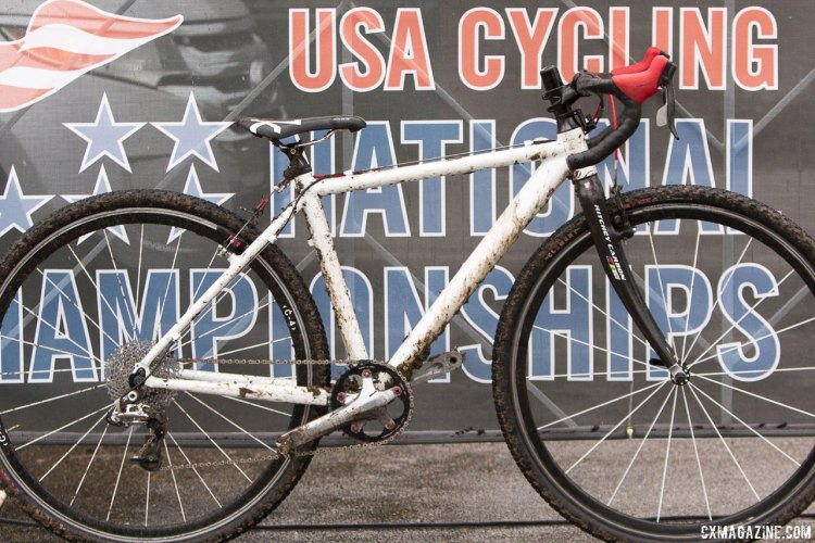 Carden King's race bike features a powder-coated Ridley X-Bow XXS frame, and hand picked componentry that rivals more expensive pre-packaged groups. © Cyclocross Magazine