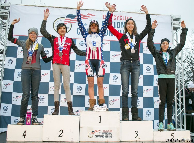 Junior Women 13-14 2015 Cyclocross National Championships Podium © Cyclocross Magazine (full res avail for purchase - email crosseyed@cxmagazine.com )