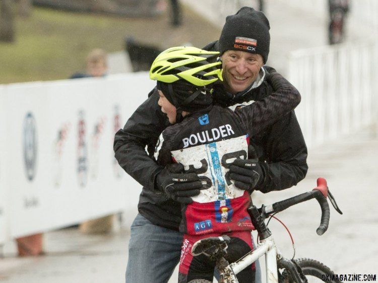 Carden King celebrates with coach and legend Pete Webber - Junior 9-10, 2015 Cyclocross National Championships. © Cyclocross Magazine