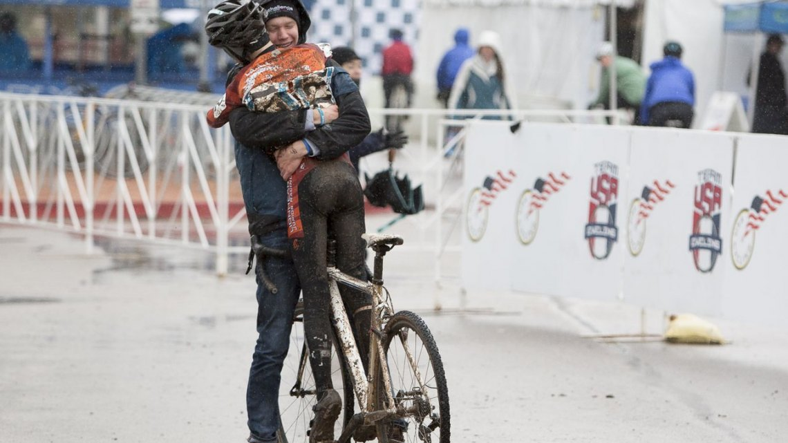 Nicholas Petrov getting a big hug after a big win today in the 11-12 race. © Cyclocross Magazine