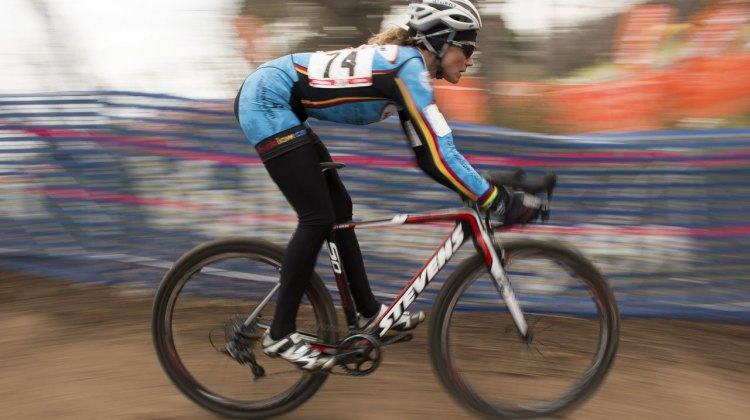 Karen Brems takes the Masters 50-54 Women's Race at the 2015 Nationals. © Cyclocross Magazine
