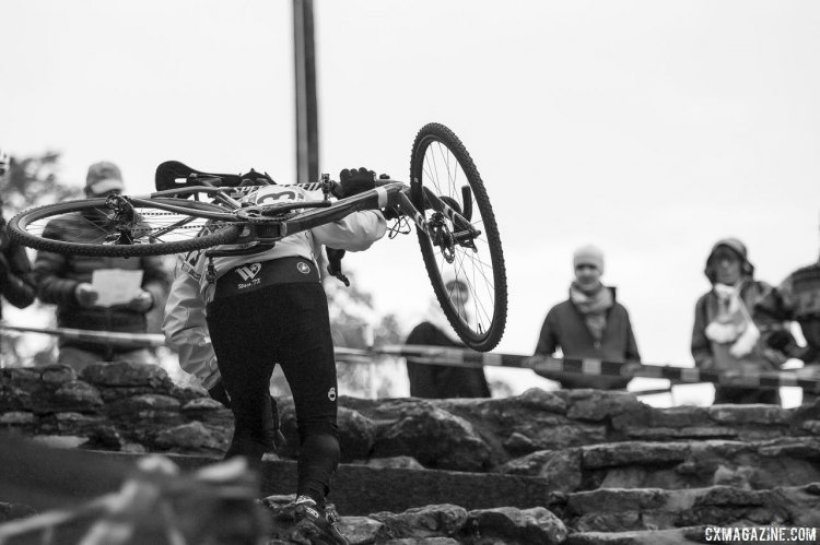 The limestone stairs proved to be a challenge for racers of all ages. © Cyclocross Magazine