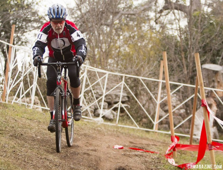 Walt Axthelm defended his title in the Masters Men 80+ Cycloross National Championship. © Cyclocross Magazine