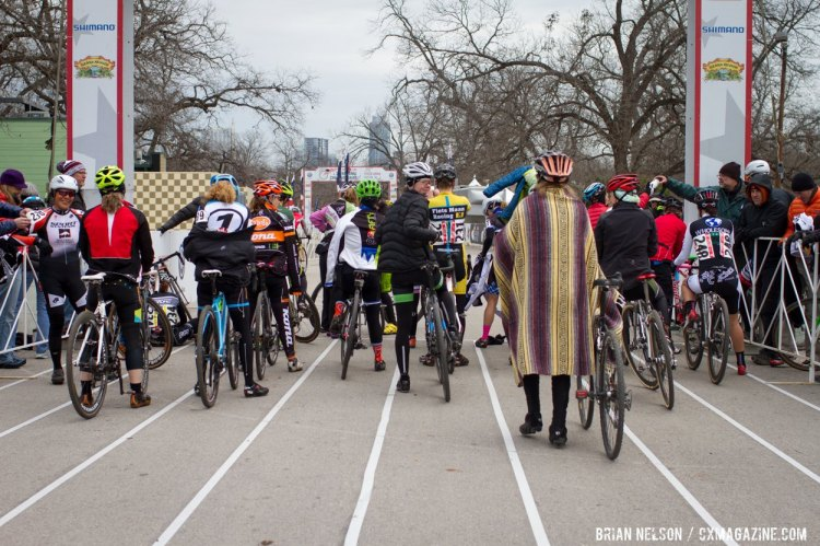 After your second warm up session, consider your clothing choices—will they be right for the race? Be sure you have a jacket, or poncho, to wear to the start line you can toss to a friend or teammate. © Brian Nelson
