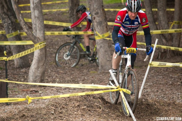 Don Myrah leads teammate Brock Dickie through the trees at the SuperPro San Jose race. January 17, 2015. © Cyclocross Magazine