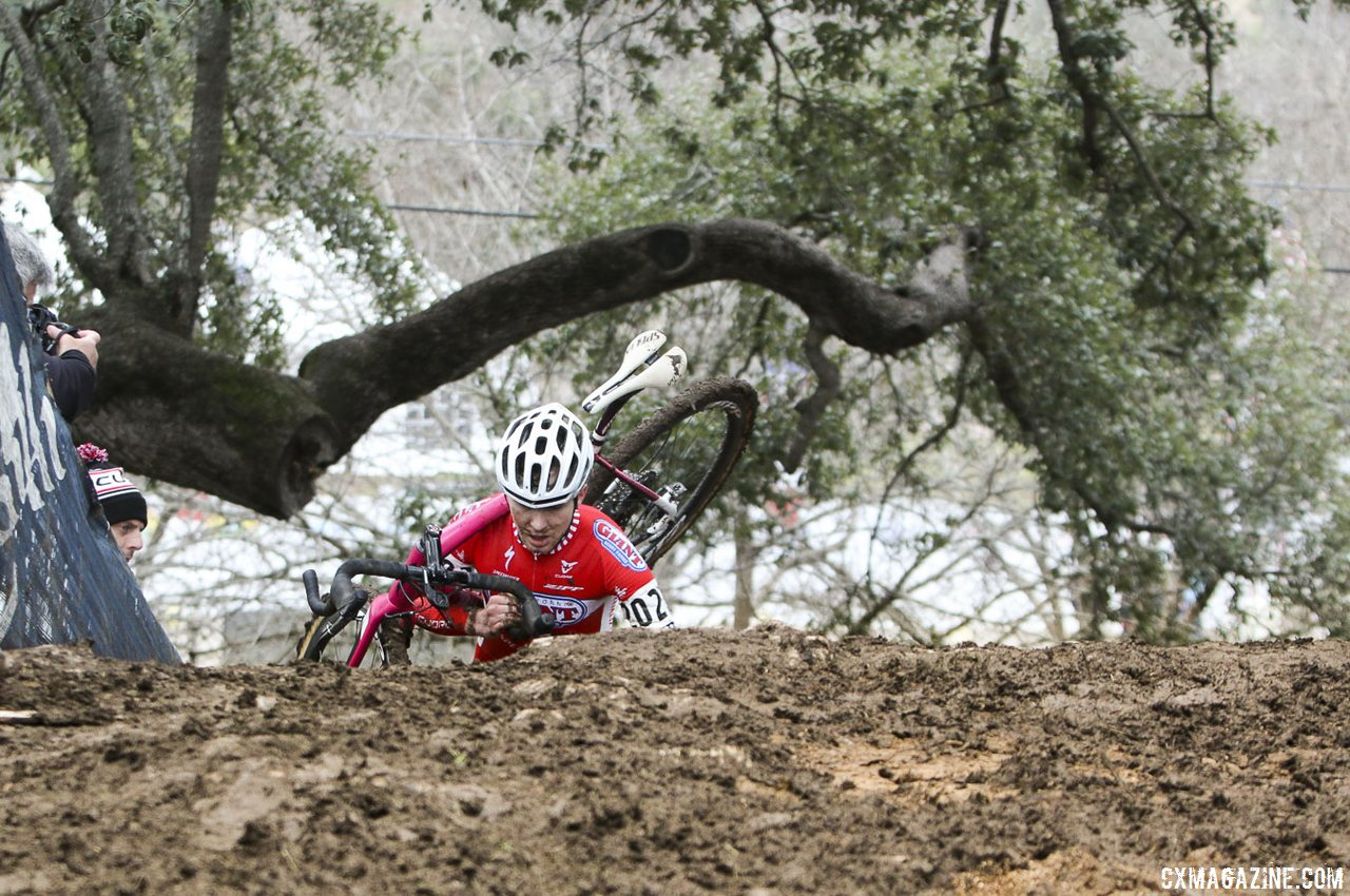 Logan Owen runs three flights of stairs to his 10th title - but the this trees still soars above him. © Cyclocross Magazine