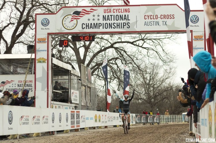 Katie Compton wins her 11th title underneath a row of Heritage Trees at Zilker Park - 2015 Cyclocross National Championships © Cyclocross Magazine