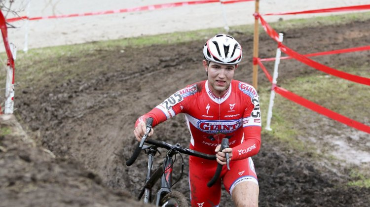 Tobin Ortenblad (Cal Giant) started strong, holding on to Owen's wheel but later paid for the effort. © Cyclocross Magazine