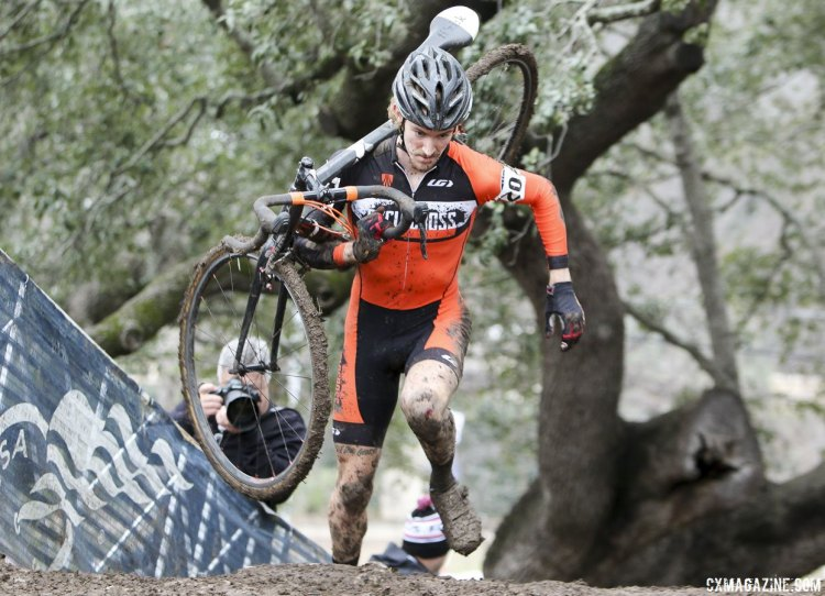 Andrew Dillman (Cyclocross Network) ran to his second individual podium after winning the D1 Collegiate title. © Cyclocross Magazine