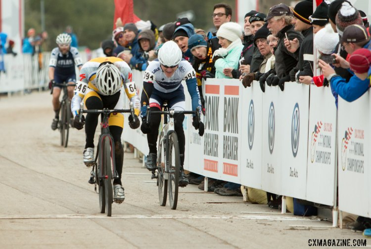 Mike Yozell pips Kevin O'Brien for second in the Masters 45-49 race in Austin. © Cyclocross Magazine