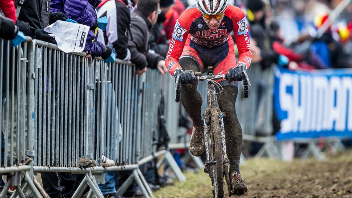 Jeremy Powers started on the front row in Tabor, but within a few turns found himself in the mid 20s. © Matthew Lasala / Cyclocross Magazine