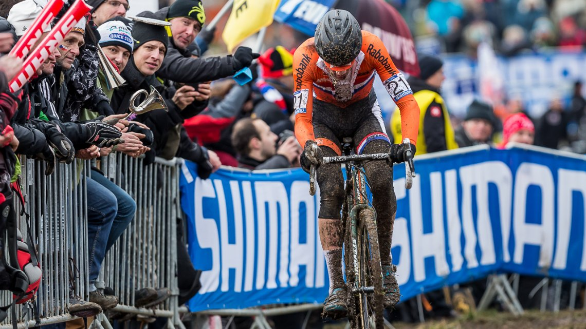 Mathieu van der Poel led early and kept pouring it on in his first World Championships as an Elite. © Matthew Lasala / Cyclocross Magazine