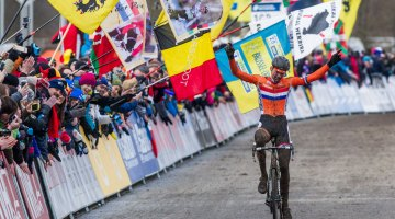 Van der Poel tearfully raises his arms in victory in the Men's Elite Race at Tabor. © Mike Albright/Cyclocross Magazine