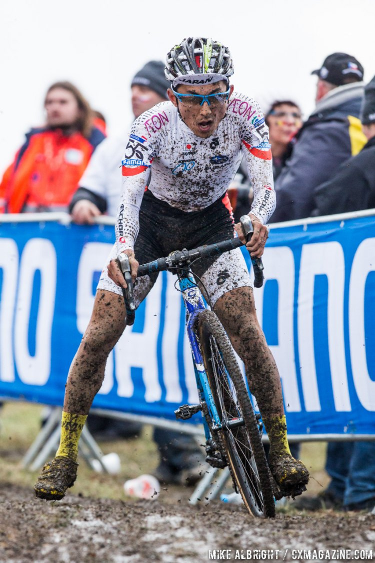 Kazuhiro Yamamoto moved up from a 50th place start to finish 38th and make a growing cyclocross nation proud. © Mike Albright / Cyclocross Magazine