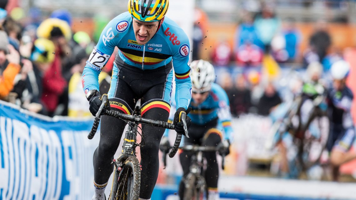Tom Meeusen battled controveries, uncertain start status and the Tabor mud to finish sixth. © Mike Albright / Cyclocross Magazine