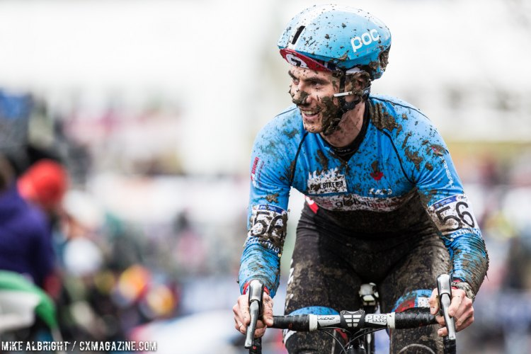 Mike Garrigan has reason to smile - he's racing the best in the world on a challenging course. © Mike Albright / Cyclocross Magazine
