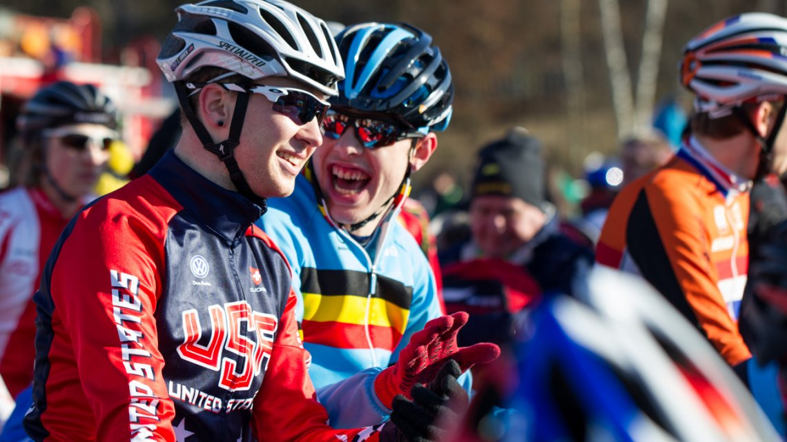 Logan Owen shares a laugh with a Belgian. U23 Men - 2015 Cyclocross World Championships © Mike Albright / Cyclocross Magazine