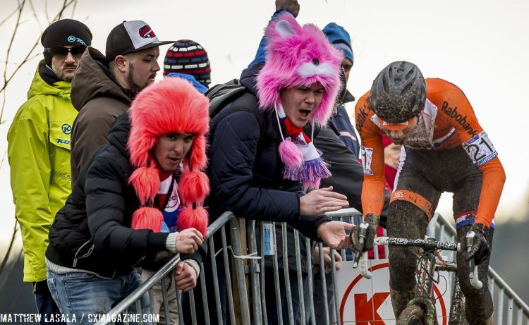 Fans of all nationalities got into the spirit with strange hats and masks. © Matthew Lasala / Cyclocross Magazine