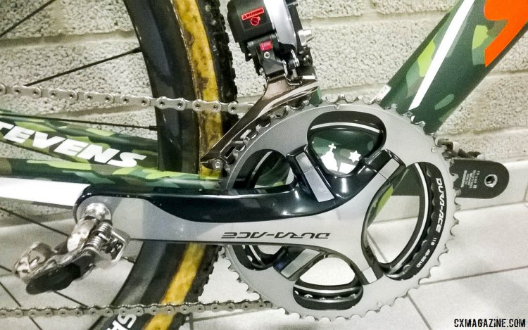 Shimano Dura-Ace 9000 crankset and 46/39 rings. Di2 9070 front derailleur. Mathieu van der Poel's 2015 World Championship-winning Stevens Super Prestige disc cyclocross bike. © Cyclocross Magazine