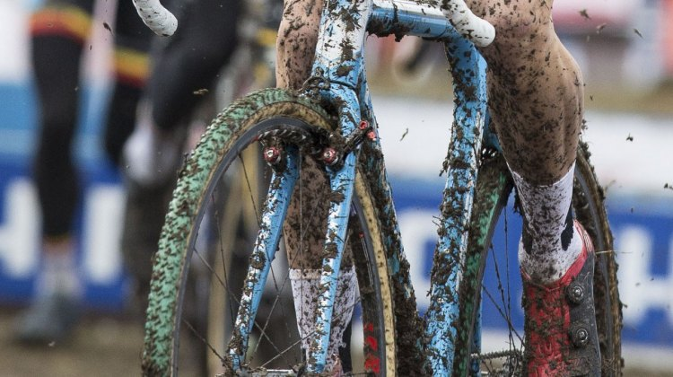 Wout van Aert raced Niels Albert's old green Michelin Mud-treaded Dugast tubulars at the 2015 Cyclocross World Championships. © Mike Albright / Cyclocross Magazine