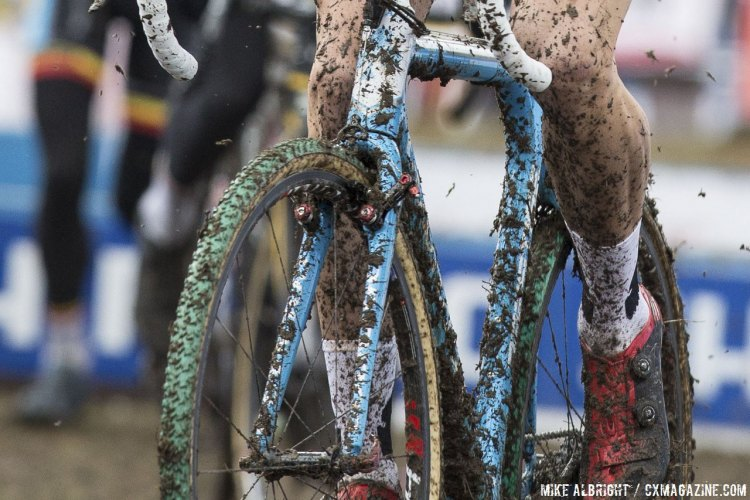 Wout van Aert raced Niels Albert's old Michelin Mud-treaded Dugast tubulars at the 2015 Cyclocross World Championships. © Mike Albright / Cyclocross Magazine