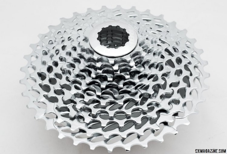 SRAM 1170 11-36 cassette for Force CX1 drivetrains adds range, terrain, and weight. © Cyclocross Magazine