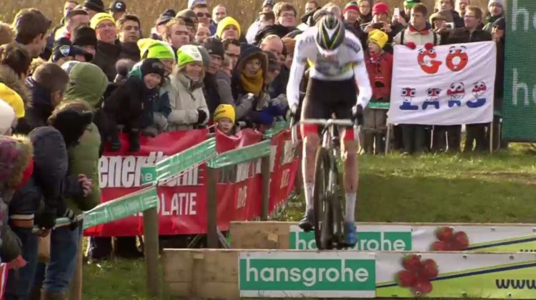 Superprestige Hoogstraten: Mathieu van der Poel hops the barriers and rides clear of the field.