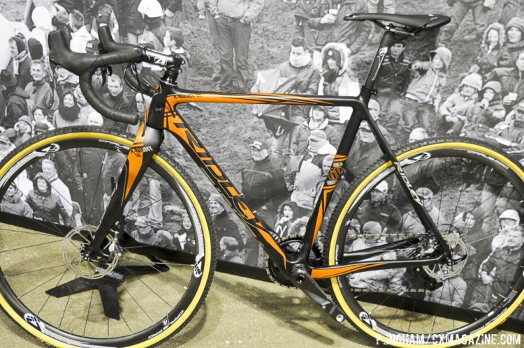The reverse side of the same Ridley X-Night SL 10 reveals that the color scheme will not be symmetrical, but rather silver dominated on the drive side and orange dominated on the non-drive side. © Philip Ingham / Cyclocross Magazine