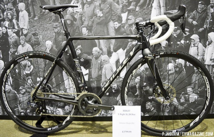 The matte black and white Ridley X-Night SL 20 is the only other superlight model for 2016, and will be equipped with a Shimano Ultegra mechanical drivetrain and hydraulic brakes. © Philip Ingham / Cyclocross Magazine