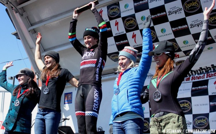 Mackenzie Woodring, Crystal Anthony and Kelli Richter made up the top three of the extended podium at Barry-Roubaix. © Andrew Reimann/Cyclocross Magazine