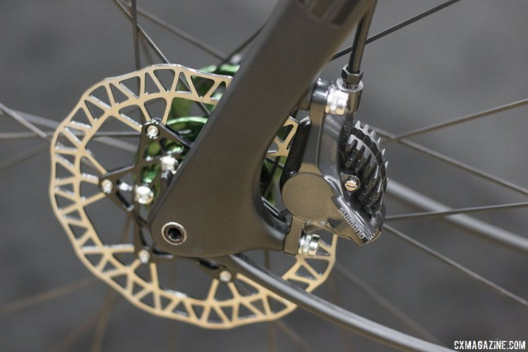 ENVE Composite' GRD (Gravel Road Disc) fork features 12mm x 100mm thru axles and is set up natively to accept 140mm rotors. NAHBS 2015. © Cyclocross Magazine