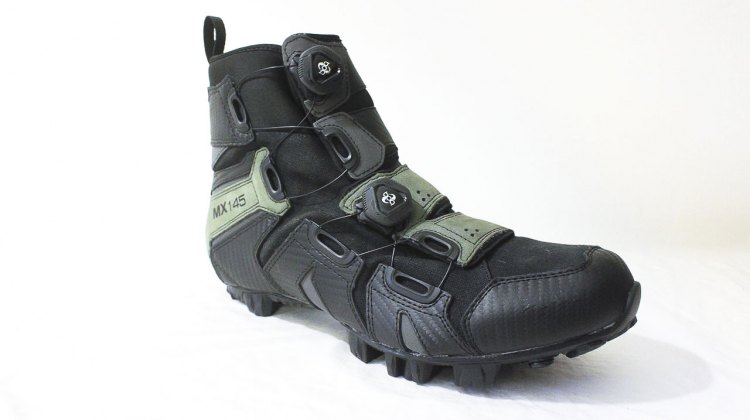 Lake Cycling's MX145 mountain bike shoe is made from waxed canvas, leather and a waterproof membrane. © Andrew Reimann/Cyclocross Magazine
